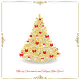 Christmas tree decorated in gold and red colors. Traditional. Realistic Stock Photo