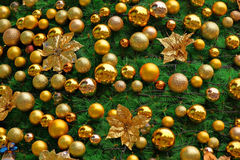 Christmas tree. Decorated with golden Royalty Free Stock Photo