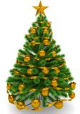 Christmas tree decorated with golden Christmas balls, golden Chr. Istmas star and ribbon - isolated on white - 3d rendering Royalty Free Stock Image