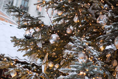 Christmas tree. Decorated Christmas tree. Good background for postcard royalty free stock photos