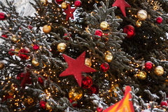 Christmas tree. Decorated Christmas tree. Good background for postcard royalty free stock image