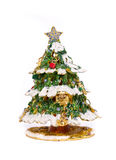 Christmas tree decorated for the holiday. On a white background Royalty Free Stock Photos