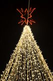 Christmas tree decorated with lights. At night outdoor Royalty Free Stock Photos