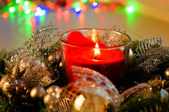 Christmas  Tree Decorated By Lights Presents Gifts Royalty Free Stock Images