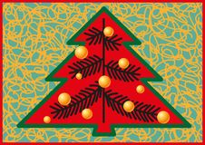 Stylized form of Christmas firs. Christmas tree decorated with lots of yellow glass beads Royalty Free Stock Photo