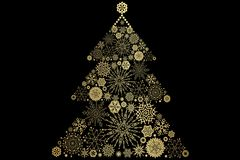 Christmas Tree decorated and modern. Beautiful Christmas Tree decorated and modern on black background with flakes Stock Images