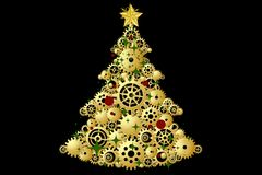 Christmas Tree decorated and modern. Beautiful Christmas Tree decorated and modern on black background with star Stock Photography