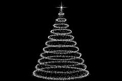 Christmas Tree decorated and modern. Beautiful Christmas Tree decorated and modern on black background with star Stock Image
