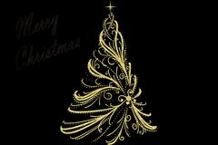 Christmas Tree decorated and modern. Beautiful Christmas Tree decorated and modern on black background with text Stock Photo