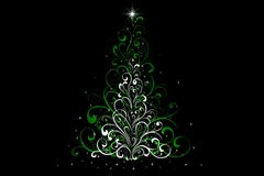 Christmas Tree decorated and modern. Beautiful Christmas Tree decorated and modern on black background with silver stars Royalty Free Stock Photo