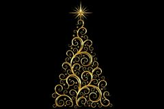 Christmas Tree decorated and modern. Beautiful Christmas Tree decorated and modern on black background with star Royalty Free Stock Images