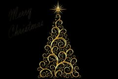Christmas Tree decorated and modern. Beautiful Christmas Tree decorated and modern on black background with star Stock Photos