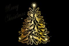 Christmas Tree decorated and modern. Beautiful Christmas Tree decorated and modern on black background with text Royalty Free Stock Photography