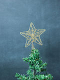 Christmas Tree Decorated. Over Blackboard Royalty Free Stock Photo