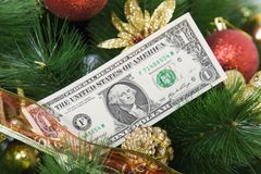 Paper money on a Christmas tree. Stock Photo