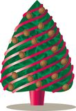 Christmas tree decorated with pine cones and. Red ribbons Royalty Free Stock Photography