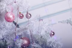 Christmas tree, decorated with pink toys close-up. Christmas tree, decorated with toys close-up Stock Images