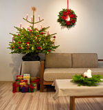 Christmas tree decorated with presents Royalty Free Stock Images
