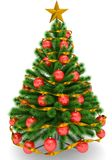 Christmas tree decorated with red Christmas balls, golden Christ. Mas star and ribbon - isolated on white - 3d rendering Stock Images