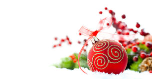Christmas tree decorated with red baubles Stock Photo