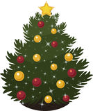 Christmas Tree. A Christmas tree decorated with red and gold ball ornaments, sparkling lights, and a star on top Stock Photography
