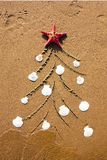 Christmas tree decorated with a sea star and seashells on the beach royalty free stock images