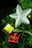 Christmas tree decorated with a silver star Royalty Free Stock Image
