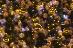 Decorations on the christmas tree stock image