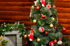 Christmas tree. Decorated with toys and gifts photographed closeup Stock Photography