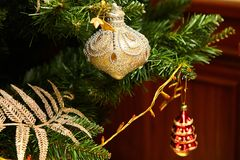 Christmas tree decorated with toys. Holiday concept stock photo