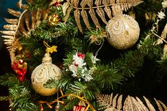 Christmas tree decorated with toys. Holiday concept stock photography