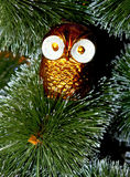 Christmas tree decorated with toys owl Royalty Free Stock Photo