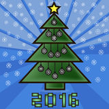 Christmas tree. Decorated with toys with snowflakes and star royalty free illustration