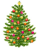 Christmas tree decorated with warm colors. Royalty Free Stock Photo