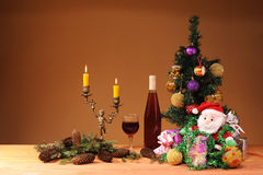 Christmas tree decorated with wine Stock Photos
