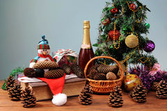 Christmas tree decorated with wine Stock Photography