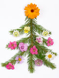Christmas Tree Decorated With Flowers Stock Photos