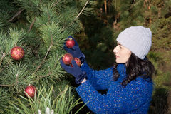 Christmas tree decorating Stock Photos