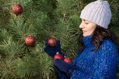 Christmas tree decorating Royalty Free Stock Photo