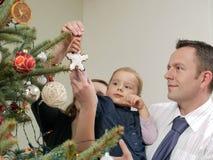 Christmas tree decorating Royalty Free Stock Photo