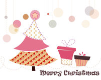 Christmas_tree. Christmas tree decorating with seamless patterns Royalty Free Stock Image