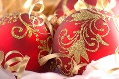 Christmas tree decoration. Christmas tree red balls. Christmas theme Royalty Free Stock Photography