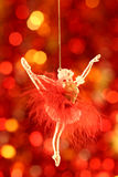 Christmas-tree decoration. S against red abstract background stock photo