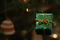 Christmas Tree decoration. A Green box christmas tree decoration royalty free stock photography