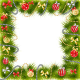 Christmas Tree decoration. Christmas Tree frame over white decoration royalty free illustration