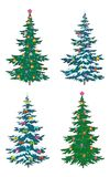 Christmas tree with decoration. Set Christmas holiday trees with decorations, isolated on white Stock Photo