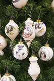 Christmas tree decoration. Colorful painted balls royalty free stock photos