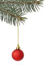 Christmas tree decoration. Christmas tree ball with golden thread isolated over white Royalty Free Stock Image