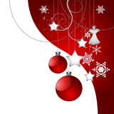 Christmas tree decoration background in red Stock Images