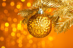 Christmas tree with decoration ball. Branch of Christmas tree with decoration ball Royalty Free Stock Photo